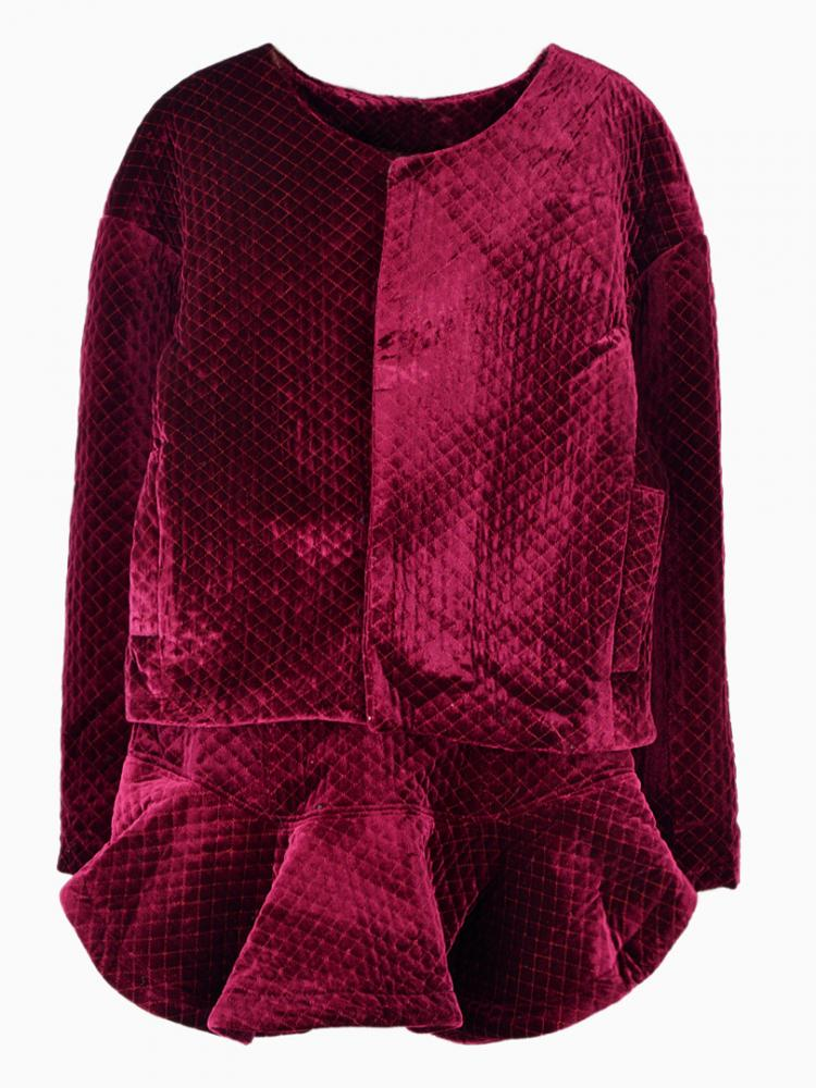 Velvet Quilted Jacket and Ruffled Skirt In Red | Choies