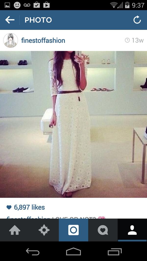dress maxi dress white dress white beautiful elegant summer