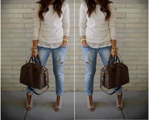 bag brown bag brown bag brown leather leather bag brown leather bag streetwear streetstyle street streetstyle fashion style stylish classy classic creme sweater white white sweater jeans denim ripped jeans gold gold bracelet gold watch bracelets bracelet chains boots ankle boots peep toe boots peep toe white blouse sweater