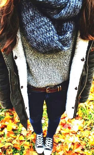 coat winter coat black coat blouse grey sweater