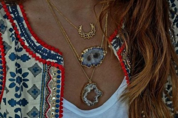 jewels gold necklace necklace indie agate agate jewelry blue agate hipster bohemian ethnic ethnic jewellery jacket