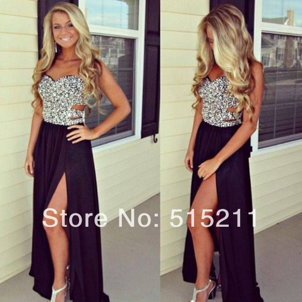 Heavy Beaded Sweetheart Black Prom Dresses Chiffon With Side Slit 2014 Trendy Evening Gowns-in Prom Dresses from Apparel & Accessories on Aliexpress.com