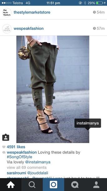 pants green cuf heels shoes
