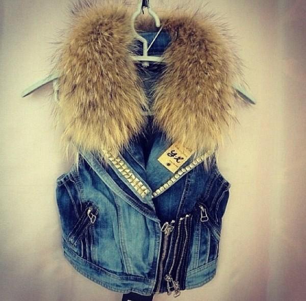 jacket fur denim vest fashion cute