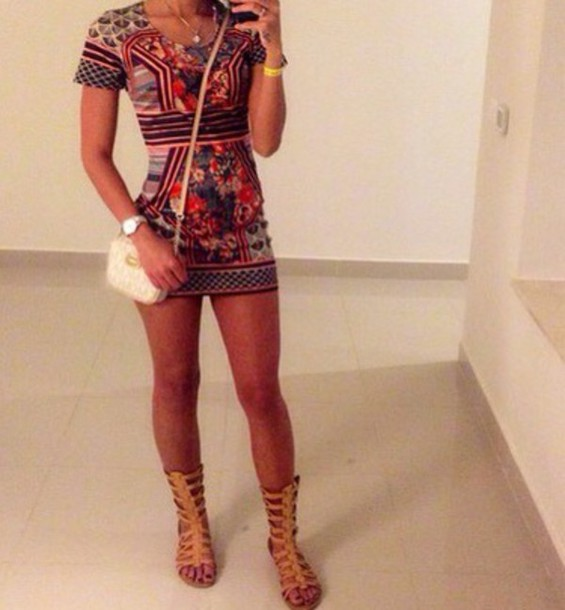 Dress Bag Patterned Dress Shoes Cute Dress Boho Bohemian Mini Print Pattern Asap