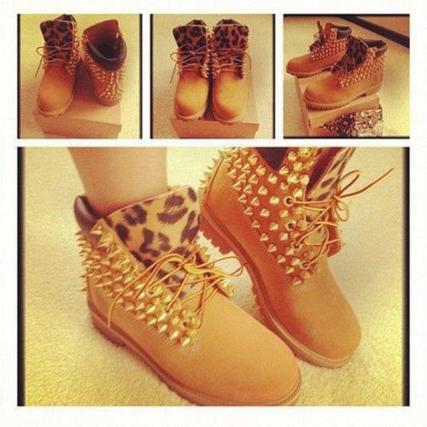 shoes timberland studs studded shoes style leopard timberlands