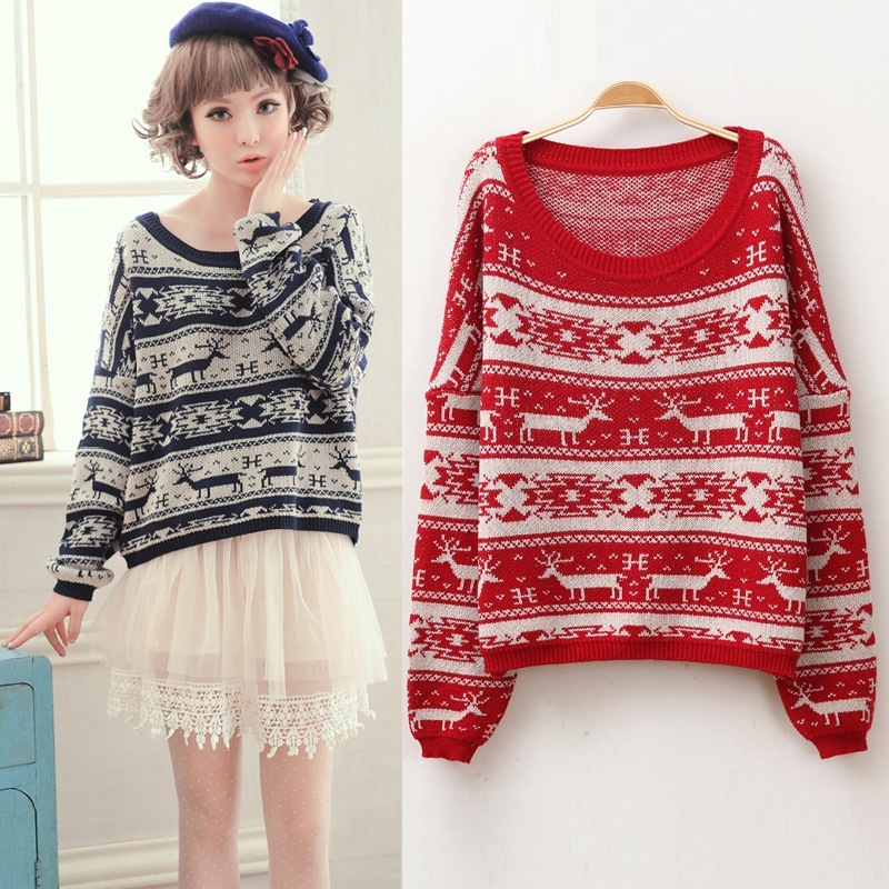 Large Boat Neck Reindeer Loose Style Knit Sweater