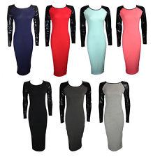 NEW LADIES BLACK CONTRAST LEATHER WET LOOK LONG SLEEVE MIDI DRESS 8 10 12 14 | eBay