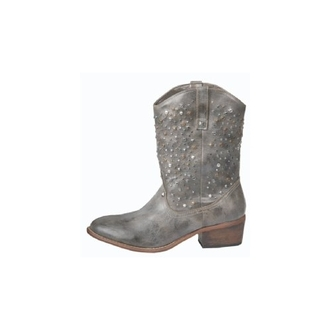 low boots studs leather western cowboy shoes