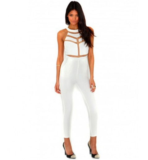 Mesh Panelled Jumpsuit - All