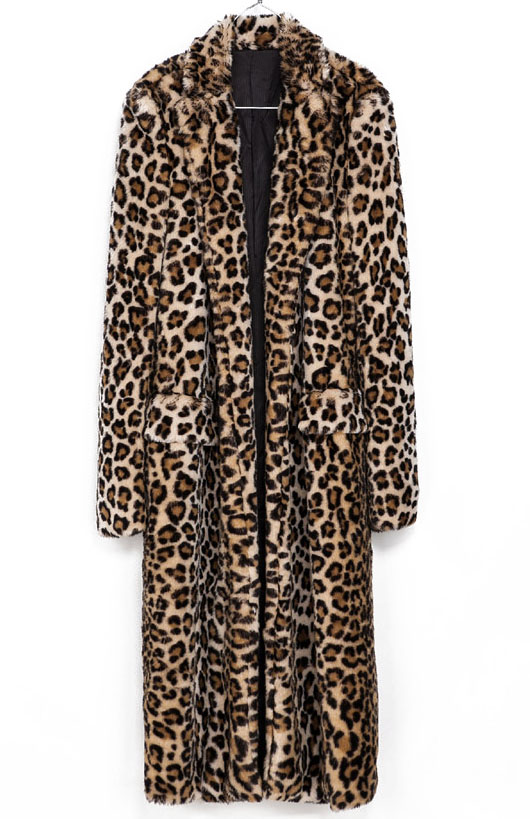 Brown Leopard Print Faux Fur Longline Coat - Sheinside.com