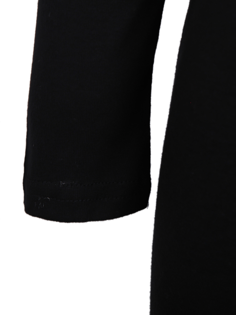 Black Contrast Mesh Yoke Long Sleeve Dress - Sheinside.com