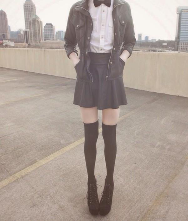 coat skirt black shoes white shirt jacket socks