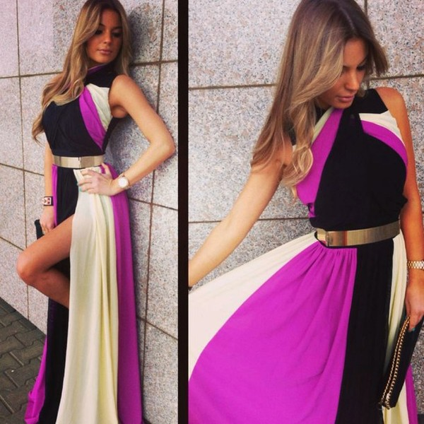 dress maxi dress multicolor belt