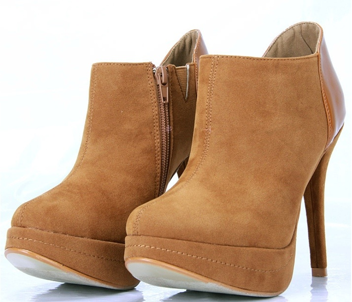 Comfortable High Heel Shoes For Women Nubuck Camel Round Toe Ankle Boots Casual Special Occasion For Cheap Women's Shoes