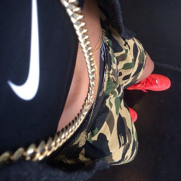 shorts camouflage shoes nike air force 1 nike shirt camo shorts nike air max 1 gold chain body chain nike shorts jacket