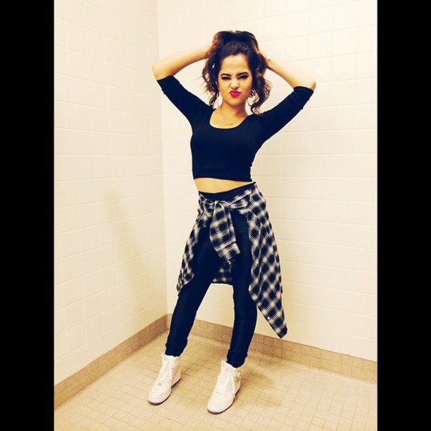 becky g flannel shirt shoes wedge sneakers white sneakers cardigan black crop top long sleeve crop top plaid shirt blouse leggings shirt