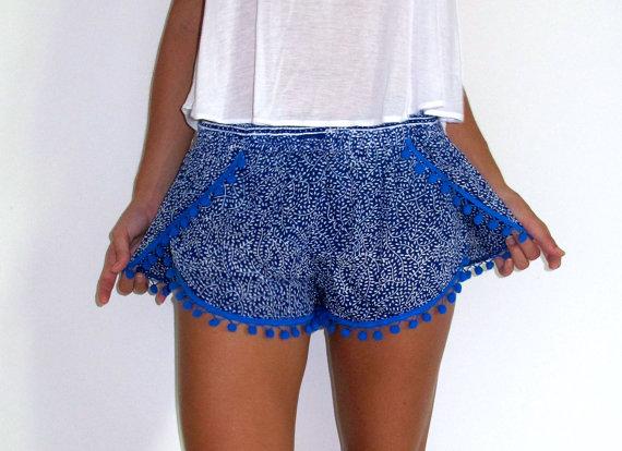 Pom Pom Shorts  Cobalt Blue & White Mini Leaf Print by ljcdesignss