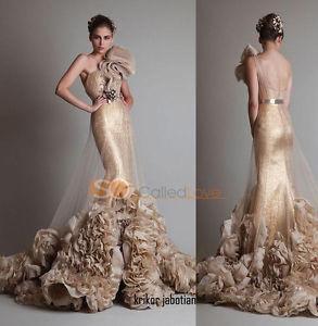 2014 One Shoulder Appliques Mermaid Evening Dresses Tulle Celebrity Gowns   eBay