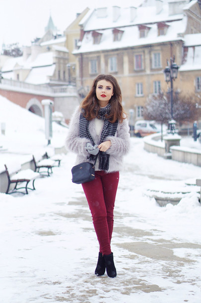 a piece of anna blogger pants scarf fuzzy sweater winter outfits bag shoes