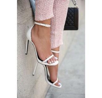 shoes high heels heels white heels thin heel white white shoes summer shoes strappy heels jennifer aniston minimalist strappy white heels open toes minimalist shoes white high heels classy