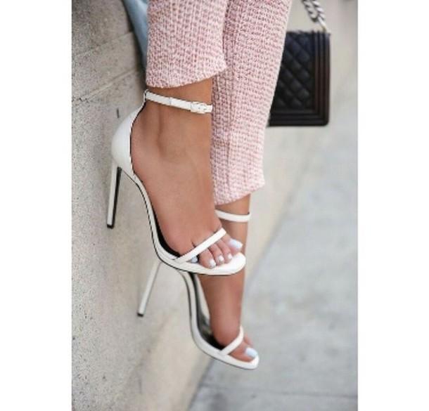shoes, high heels, heels, white heels, thin heel, white, white shoes,  summer shoes, strappy heels, jennifer aniston, minimalist, strappy white  heels, open toes, minimalist shoes, white high heels, classy - Wheretoget