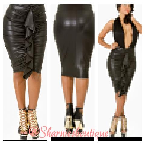 Sharnie's — Leather ruffle skirt