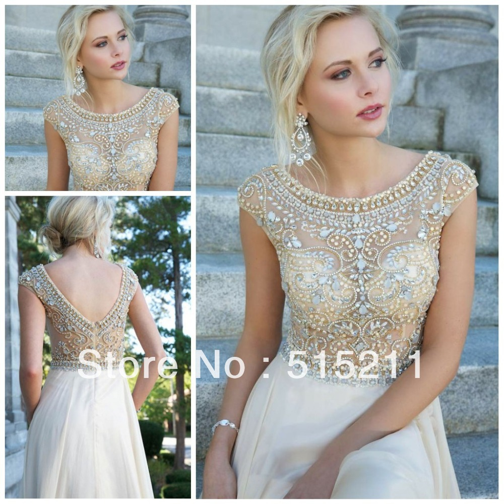 Aliexpress.com : Buy Modest White Chiffon Cap Sleeves Prom Long Dresses With Crystals Beaded 2014 New Women Evening Party Gowns from Reliable dress necklines suppliers on Love Forever  Co,Ltd