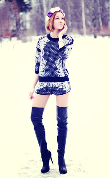 Retro Patterned Top And Shorts In Black | Choies