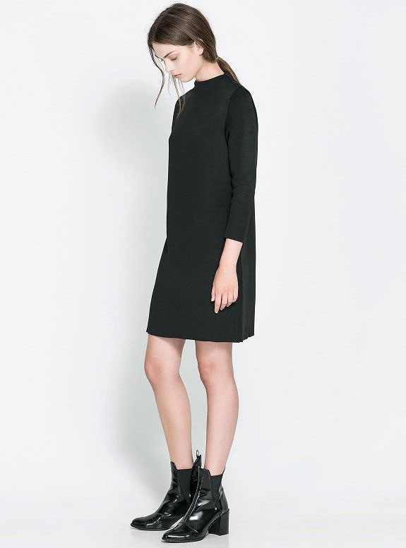 Black Round Neck Long Sleeve Straight Dress - Sheinside.com