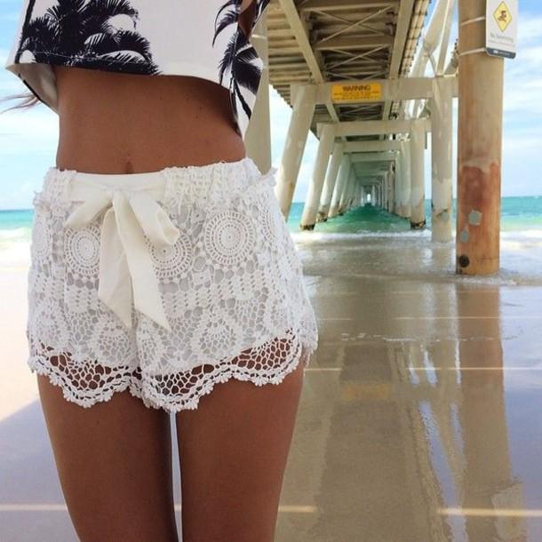 shorts crochet swimwear top spring break