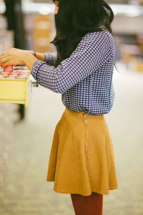 skirt yellow american apparel corduroy shirt mustard skirt skater skirt yellow skirt mustard mini skirt blue checkered shirt chic blouse