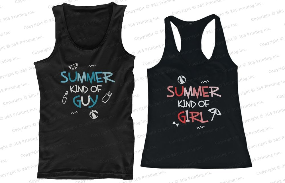 His and Hers Matching Couple Beach Tank Tops Summer Kind of Guy and Girl | eBay