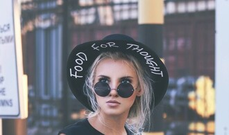 hat black food for thought felt hat