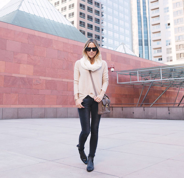 damsel in dior sweater scarf bag shoes jeans