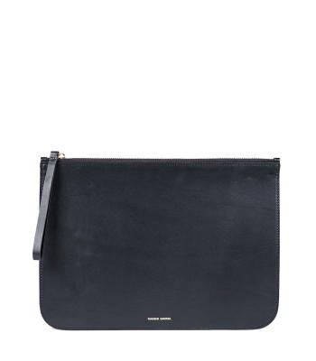 Mansur Gavriel Black Flamma iPad Case - Leather Clutch - ShopBAZAAR