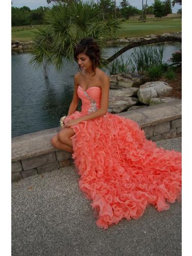 Stunning Orange Ball Gown Sweetheart High-low Asymmetrical Prom Dress on Luulla