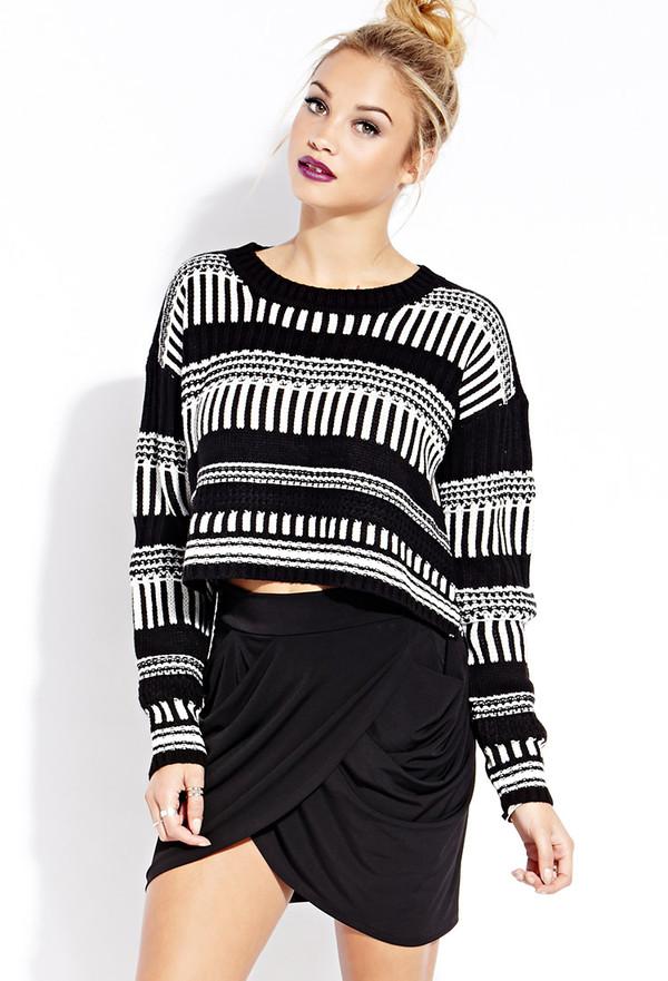 sweater sweatshirt geometric lines stripes striped sweater skirt tulip skirt wine red black white black and white sweater white and black sweater blonde hair bun hair bun