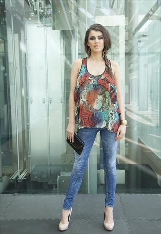 Sheer Multi Coloured Snake Print Chiffon Vest Top | Yan Neo London Boutique | ASOS Marketplace