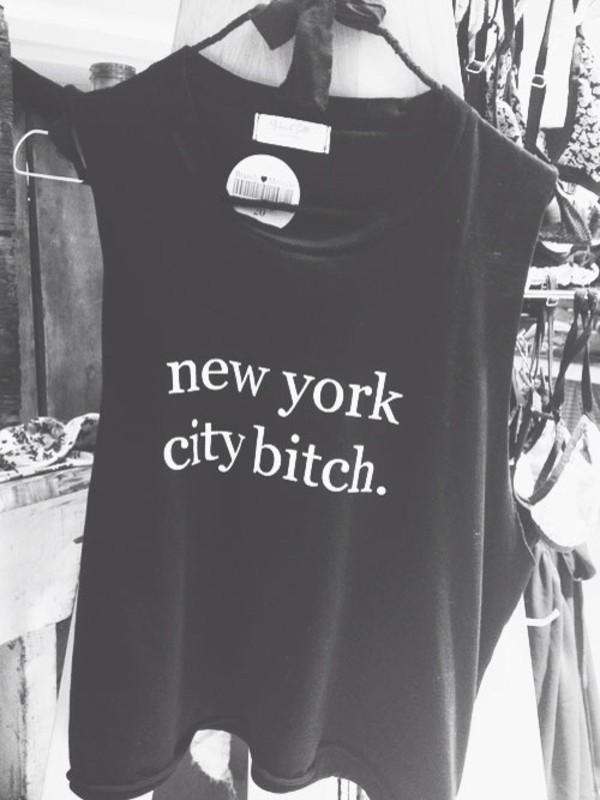 shirt ny city bitch white black nice