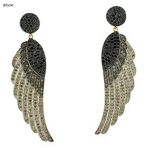 Heavy 14 K Gold 5 45ct Diamond Silver High Fashion Fairy Wing Dangle Earrings   eBay