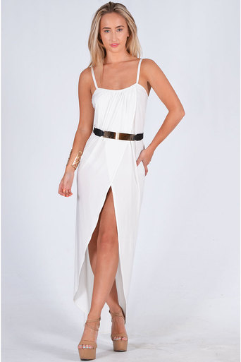 Ladies Sloane Strap Wrap Over Design Dress With Belt In White at Pop Couture UK