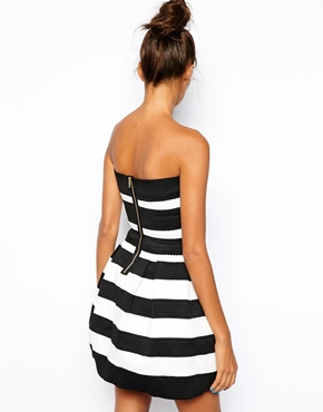River Island | River Island Stripe Bandeau Prom Dress at ASOS