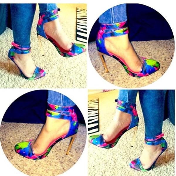 shoes multicolor high heels