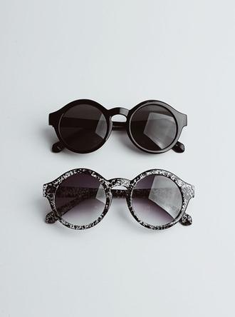 sunglasses black pattern sun summer black and white solid accessories accessory round sunglasses round grey hipster h&m soft grunge indie hippie hippie chic punk vintage