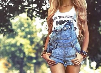 shorts t-shirt shirt singlet white white singlet overalls jumpsuit denim jeans tank top denim overalls dungarees fashion style clothes