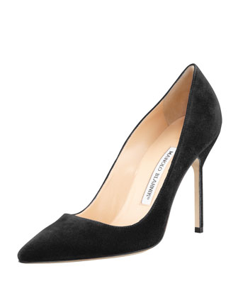 Manolo Blahnik BB Suede 105mm Pump, Charcoal (Made to Order)