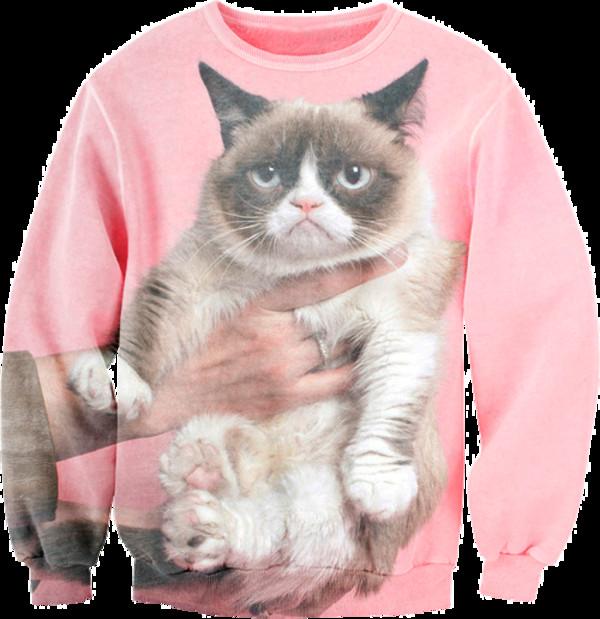 sweater cats grumpy pink not happy jumper swag tumblr tumblr girl tumblr girl cute angry hand grumpy cat