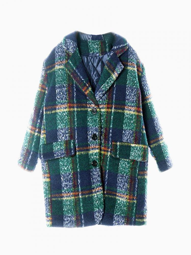 Green Plaid Longline Wool Coat | Choies
