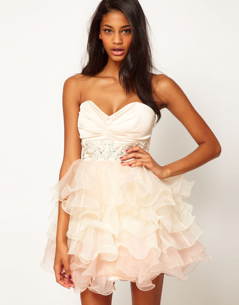 bnwt LIPSY VIP NUDE PINK strapless Sequin Bust Bandeau Prom Dress. UK 14 | eBay
